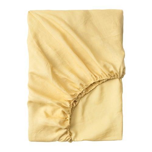 ИКЕА (IKEA) PUDERVIVA, 604.335.81, Простыня натяжная, светло-желтый, 90x200 см - ТОП ПРОДАЖ