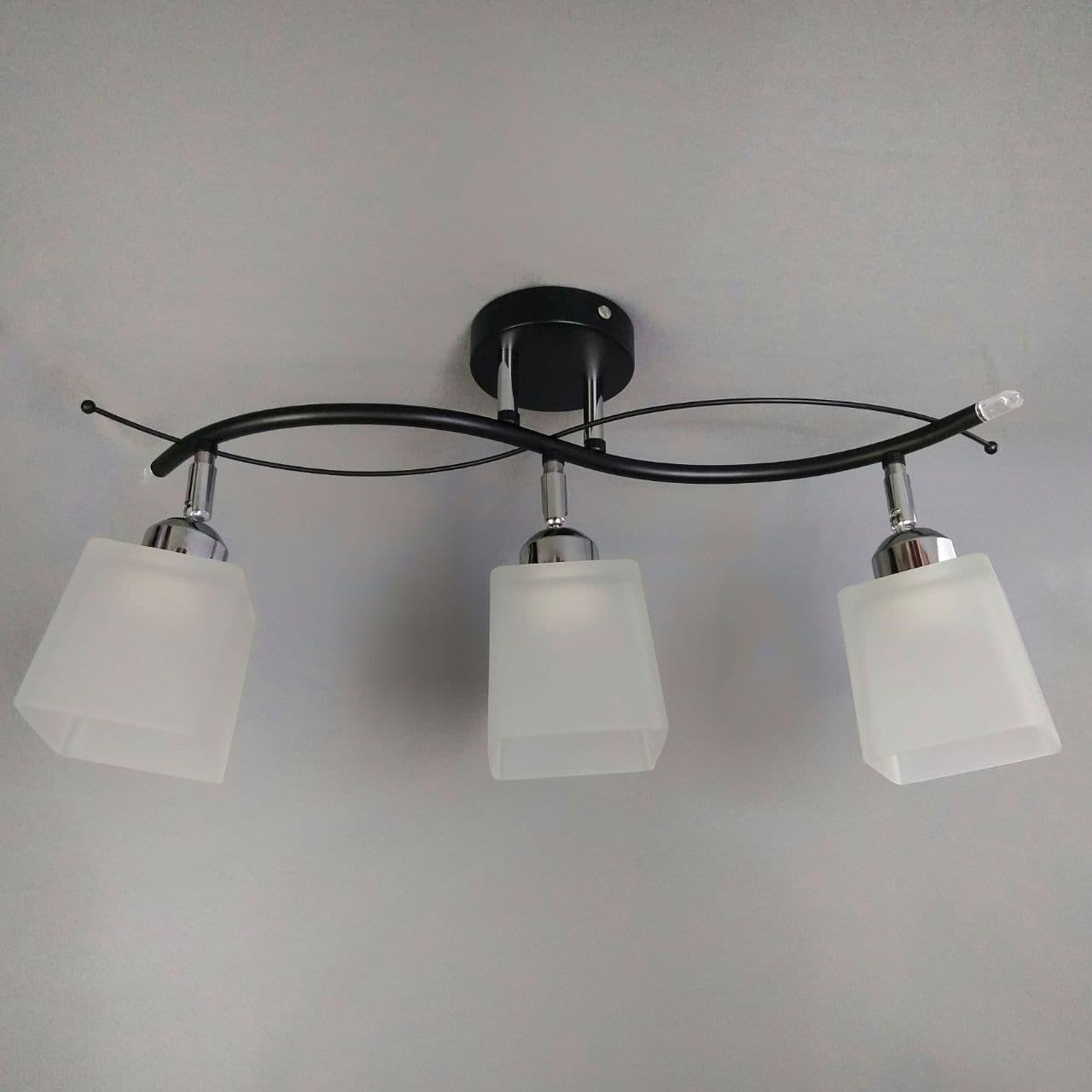 Люстра потолочная на 3 поворотных плафона черная с хромом 70-8855/3 CR+BK+WT