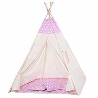 Детская палатка домик (вигвам) Springos Tipi XXL TIP09 White/Pink. Палатка для детей игровая