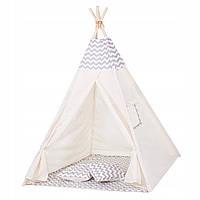 Детская палатка домик (вигвам) Springos Tipi XXL TIP03 White/Grey. Палатка для детей игровая