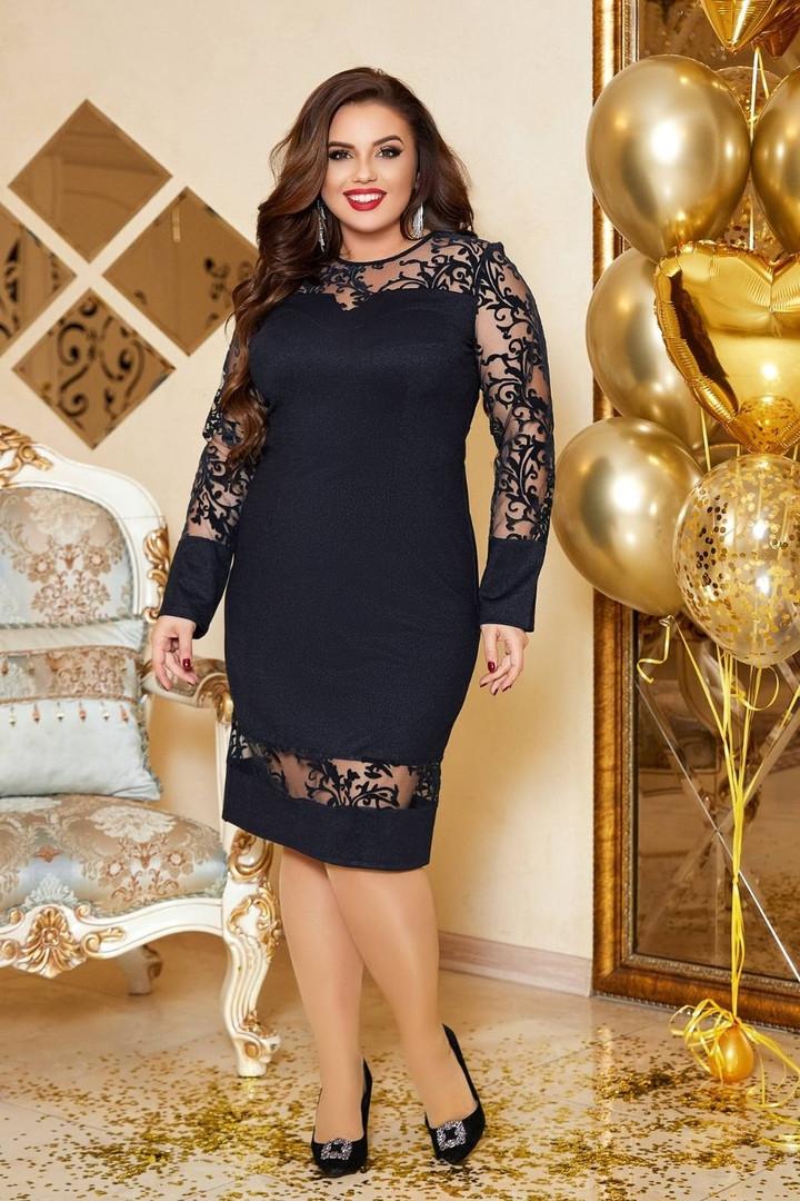 Женское платье батал, турецкий креп дайвинг + люрексовая нить, р-р 50; 52; 54; 56 (тёмно-синий)