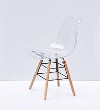 Прозрачный стул пластиковый на буковых ножках с черным металлом Nik Q, фото 3