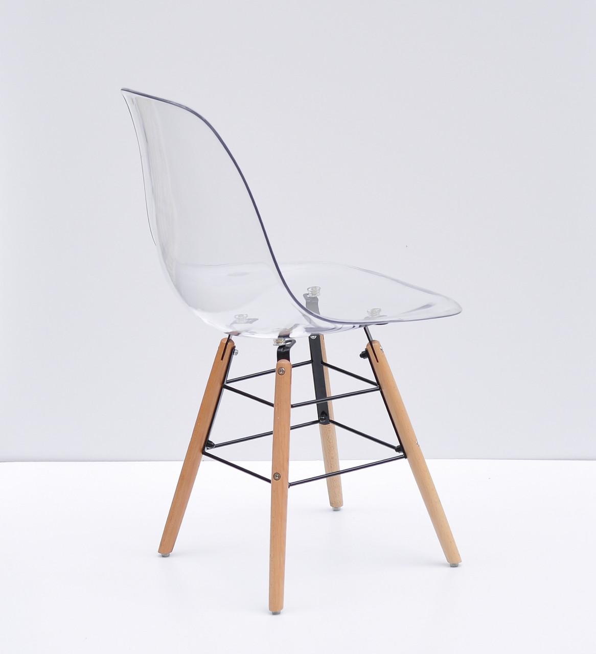 Прозрачный стул пластиковый на буковых ножках с черным металлом Nik Q