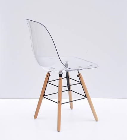 Прозрачный стул пластиковый на буковых ножках с черным металлом Nik Q, фото 2