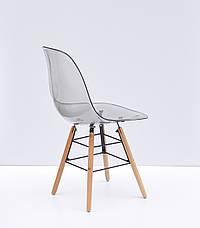 Дымчатый стул пластиковый на буковых ножках с черным металлом Nik Q, фото 2