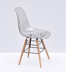 Дымчатый стул пластиковый на буковых ножках с черным металлом Nik Q, фото 3