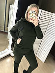 Женский спортивный костюм, трехнить на флисе, р-р 42-44; 46-48; 50-52 (хаки), фото 3