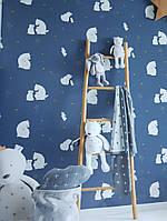 Обои флизелиновые Decoprint эко Sweet Dreams детские мишки зайцы звезды белые на темно синем 0,53x10,05 м