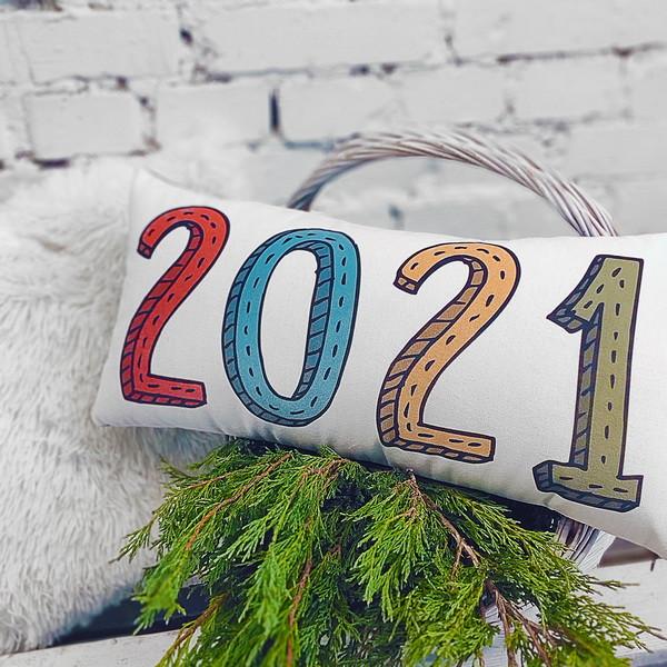 Подушка для дивана бархатная 2021 year 50x24 см (52BP_21NG012)