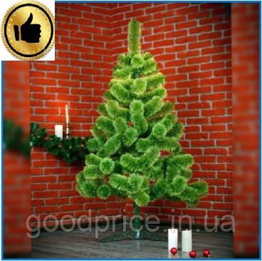 Сосна искусственная Распушенная зеленая 1м, новогодняя зеленая сосна жилка-ПВХ с подставкой