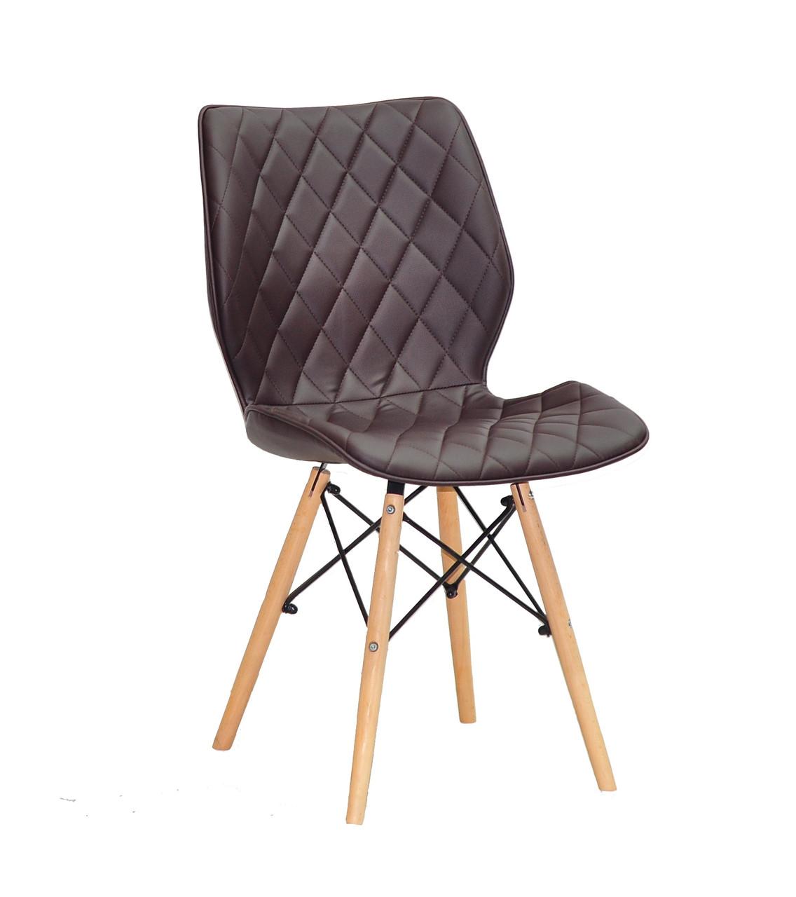 Мягкий стул на деревянных ножках Nolan коричневый для гостиных, кафе