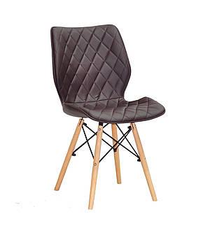 Мягкий стул на деревянных ножках Nolan коричневый для гостиных, кафе, фото 2