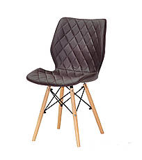Мягкий стул на деревянных ножках Nolan коричневый для гостиных, кафе, фото 3