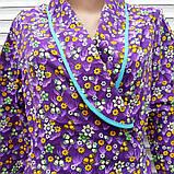 Теплый фланелевый халат на запах 54 размер Фиолет, фото 4
