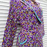 Теплый фланелевый халат на запах 54 размер Фиолет, фото 3