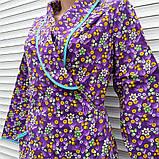 Теплый фланелевый халат на запах 54 размер Фиолет, фото 2