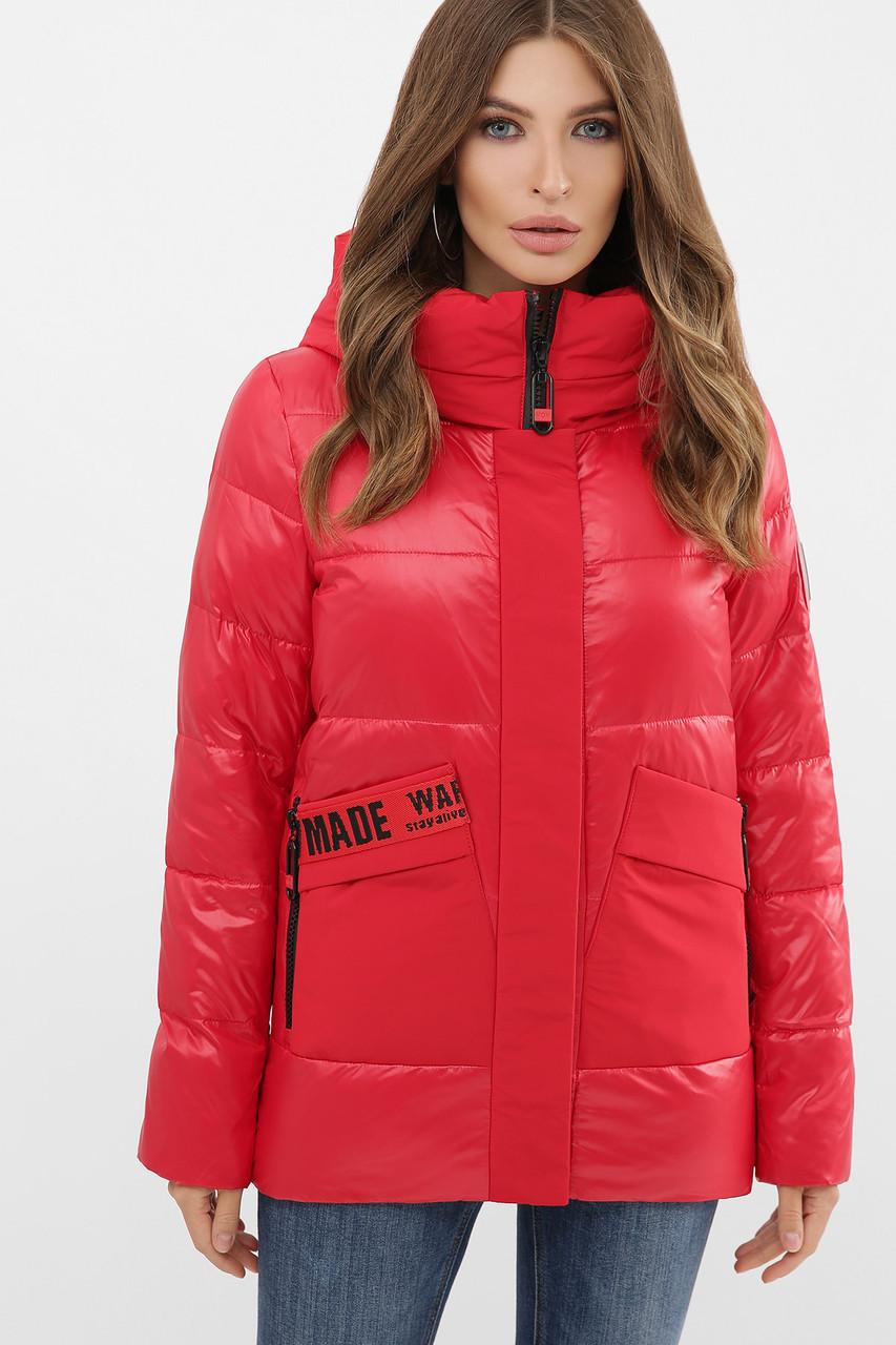 Красная короткая куртка на биопухе размер S M L XL 2XL