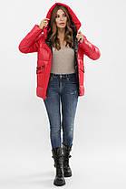 Красная короткая куртка на биопухе размер S M L XL 2XL, фото 2