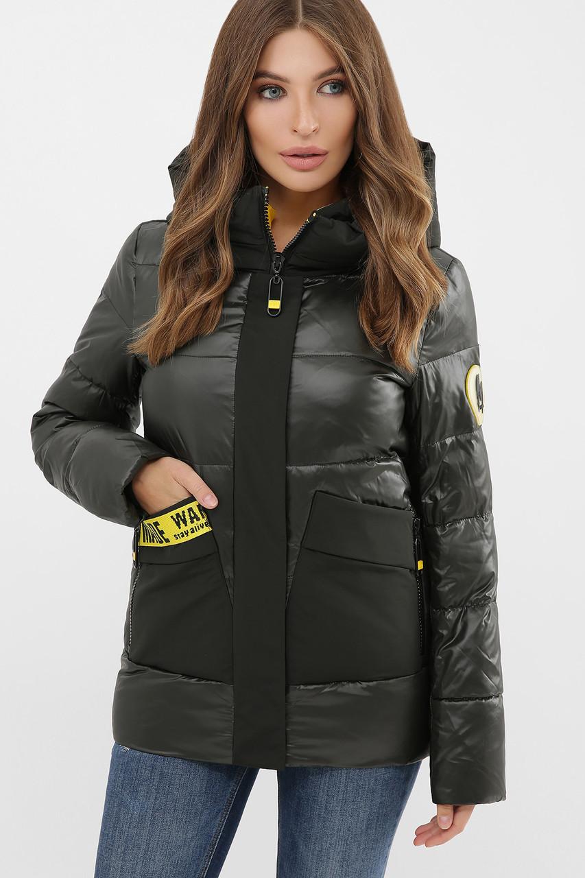 Короткая куртка цвета хаки на биопухе размер S M L XL 2XL
