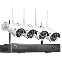 Комплект видеонаблюдения Hiseeu 8CH HB613 Wi-Fi 1536P 4 шт. NVR (регистратор и 4 камеры + всё для монтажа)