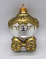 Стеклянная Ёлочная игрушка на ёлку ручной работы, формавая ёлочная игрушка карета