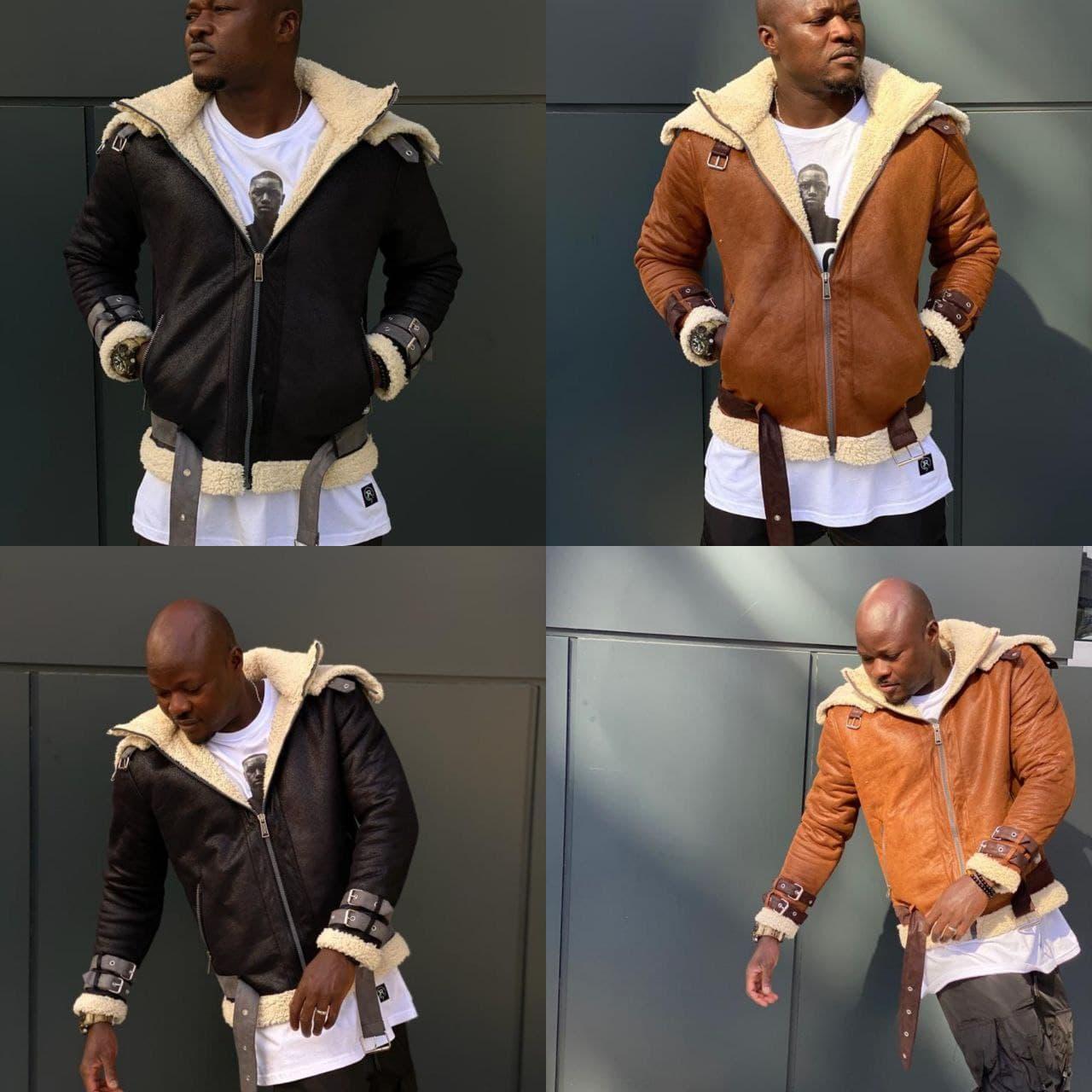 """Курточка  """"АВИАТОР"""" из овечьего меха  стиль 2021 года, чорна (S, L, XL,XXL)"""