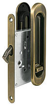 Ручки для раздвижной двери с замком I-05 Старая бронза