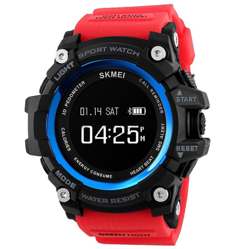 Часы, смарт-браслет Skmei 1188, черный-красный, в металлическом боксе