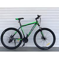 Велосипед черно зеленый TopRider 901 29 дюймов алюминий