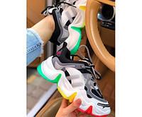 Демисезонные кроссовки разноцветные из эко кожи женские