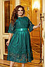 Женское вечернее шелковое платье с сеткой с объемной вышивкой большой размер