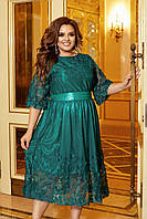 Женское вечернее шелковое платье с сеткой с объемной вышивкой большой размер, фото 1
