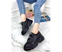 Стильные женские броги туфли черного цвета на платформе 39-40р