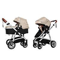 Детская коляска CARRELLO Fortuna CRL-9001/1 Peanut Beige 2в1 c матрасом