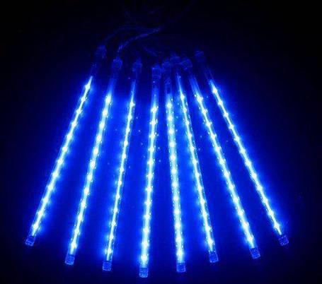 "Светодиодная гирлянда внешняя ""Snowfall"" синий 8 метеоров 220V IP44 Код.59782, фото 2"