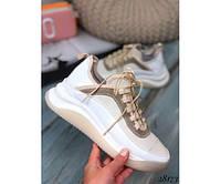 Модные белые кросовки с бежевыми вставками женские кожаные 37-39р