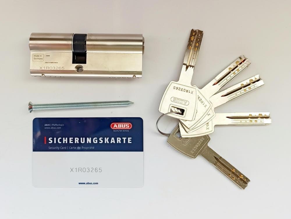 Циліндр Abus M12R 80мм (50х30) ключ/ключ 5 кл. Матовий хром