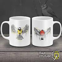 """Парные белые чашки (кружки) с принтом """"Птицы"""""""