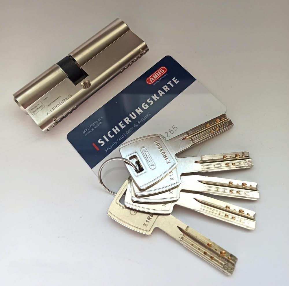 Цилиндр Abus M12R 95мм (65х30) ключ/ключ 5 кл. Матовый хром