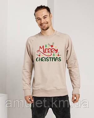 Світшот з модним принтом MERRY CHRISTMAS тканина двунітка S-3XL, фото 2
