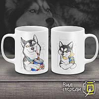 """Парные белые чашки (кружки) с принтом """"Собаки"""""""
