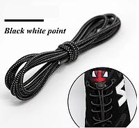 Резиновые эластичные шнурки для обуви/ кроссовок с фиксаторами быстрой застежкой. Черные с белой точкой