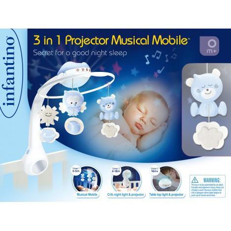 Мобіль музичний з проектором сірий Infantinо (004915I)