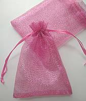 Мешочки для украшений, органза блестящая розовая, 9х12 см, 1 шт. Производство Украина, фото 1