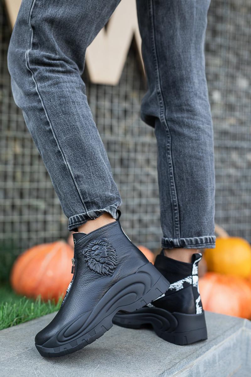 Женские ботинки кожаные зимние чёрные Best Vak 2020