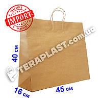 Бурый бумажный пакет с ручками 450х160х400 из импортной крафт бумаги, плотность 120г/м²