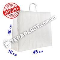 Белый подарочный крафт пакет с ручками 450х160х400 плотность 120г/м²