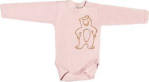 Дитячий боді з начосом ріст 74 6-9 міс інтерлок рожевий на дівчинку з довгим рукавом для новонарождених