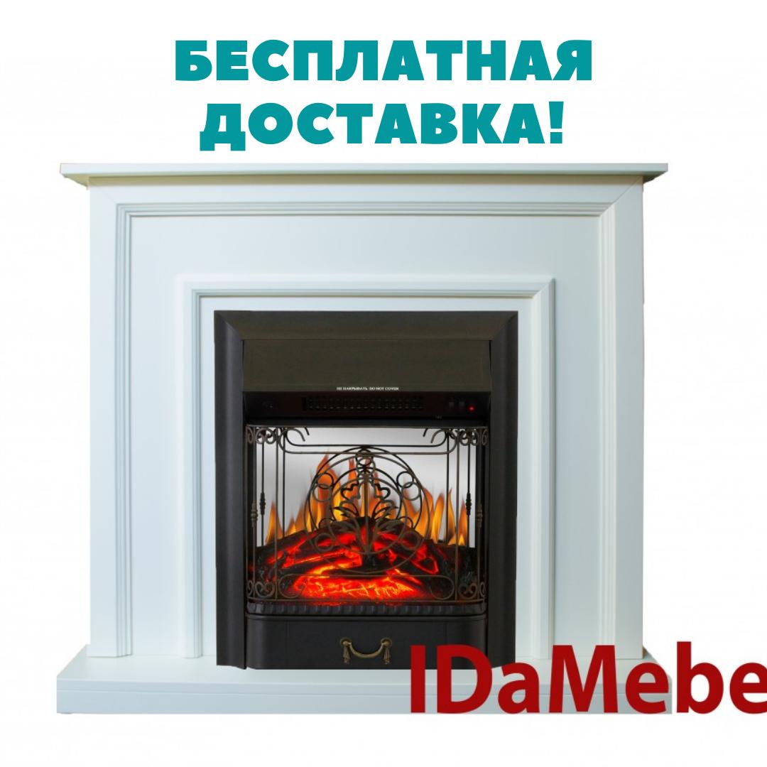 Каминокомплект IDaMebel Adele Белый Majestic Black (камин, очаг)