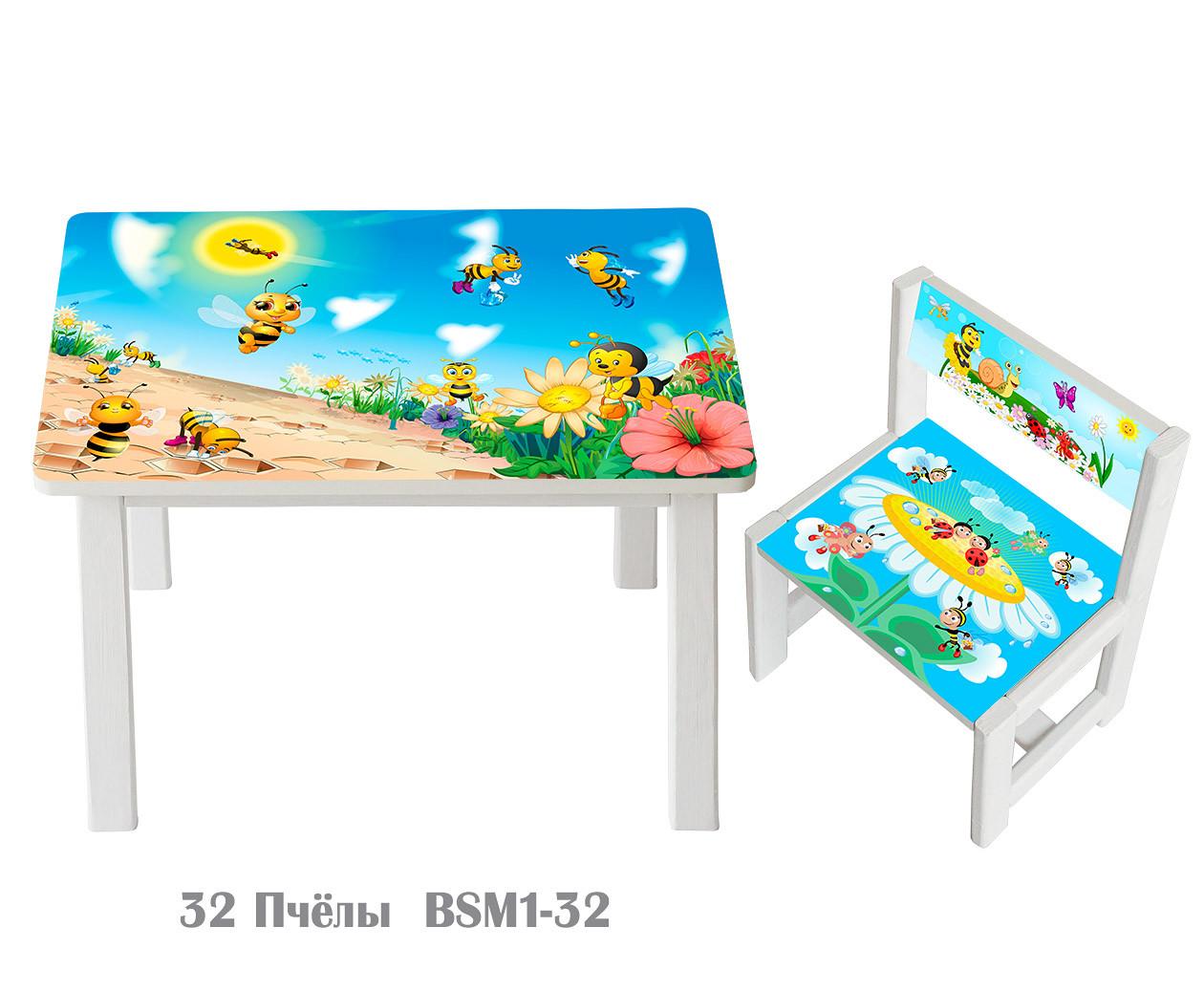 """Комплект стіл і 1 укріплений стілець дитячий """"Бджоли"""""""